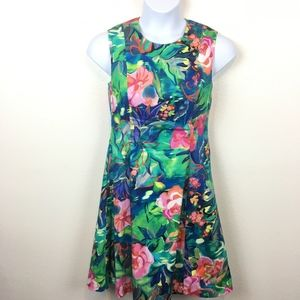 Worth NY Gorgeous Tropical Floral Fit Flare Dress
